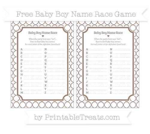 Free Beaver Brown Quatrefoil Pattern Baby Boy Name Race Game