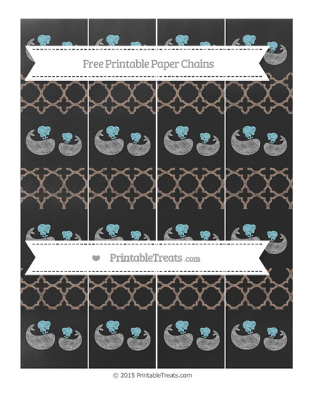Free Beaver Brown Quatrefoil Pattern Chalk Style Baby Whale Paper Chains