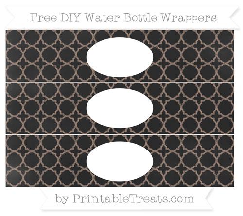 Free Beaver Brown Quatrefoil Pattern Chalk Style DIY Water Bottle Wrappers