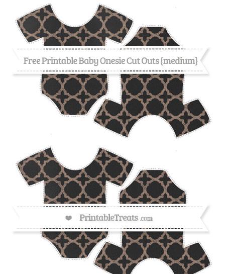 Free Beaver Brown Quatrefoil Pattern Chalk Style Medium Baby Onesie Cut Outs