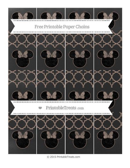 Free Beaver Brown Quatrefoil Pattern Chalk Style Minnie Mouse Paper Chains
