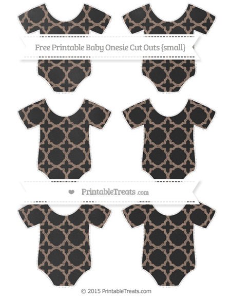 Free Beaver Brown Quatrefoil Pattern Chalk Style Small Baby Onesie Cut Outs