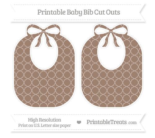 Free Beaver Brown Quatrefoil Pattern Large Baby Bib Cut Outs