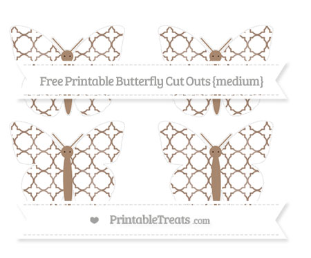 Free Beaver Brown Quatrefoil Pattern Medium Butterfly Cut Outs
