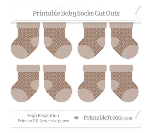 Free Beaver Brown Quatrefoil Pattern Small Baby Socks Cut Outs