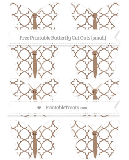Free Beaver Brown Quatrefoil Pattern Small Smiley Butterfly Cut Outs