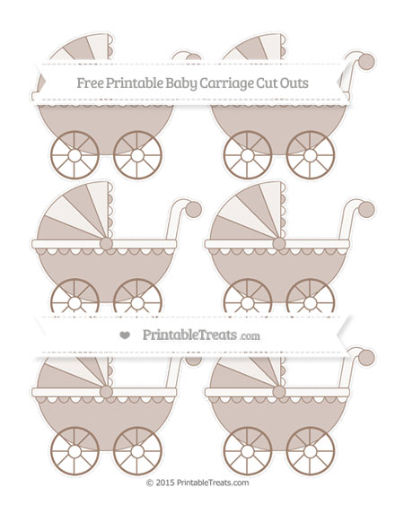 Free Beaver Brown Small Baby Carriage Cut Outs