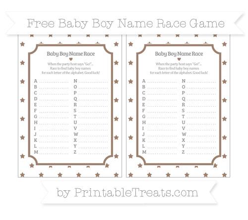 Free Beaver Brown Star Pattern Baby Boy Name Race Game