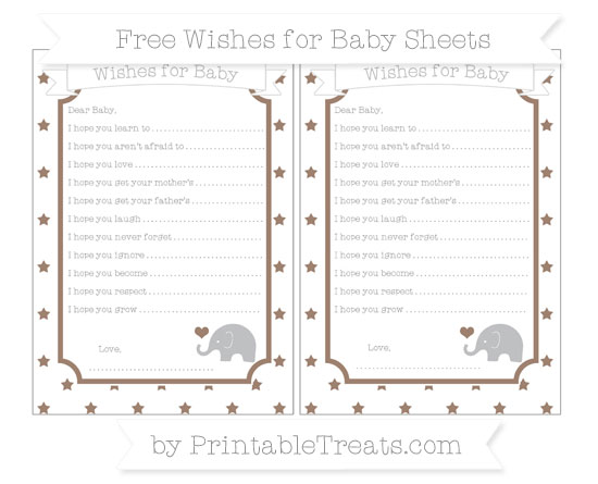 Free Beaver Brown Star Pattern Baby Elephant Wishes for Baby Sheets