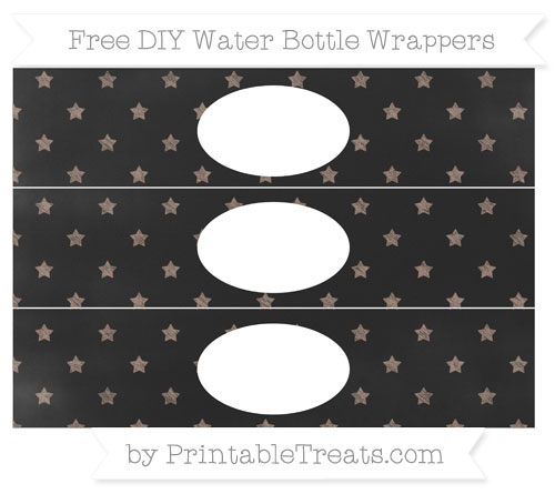 Free Beaver Brown Star Pattern Chalk Style DIY Water Bottle Wrappers