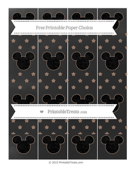 Free Beaver Brown Star Pattern Chalk Style Mickey Mouse Paper Chains