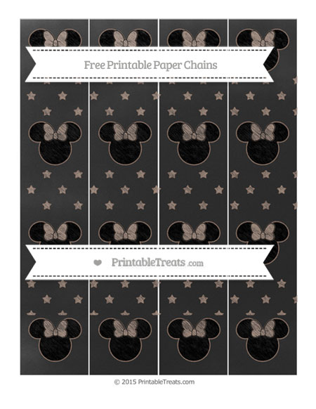 Free Beaver Brown Star Pattern Chalk Style Minnie Mouse Paper Chains