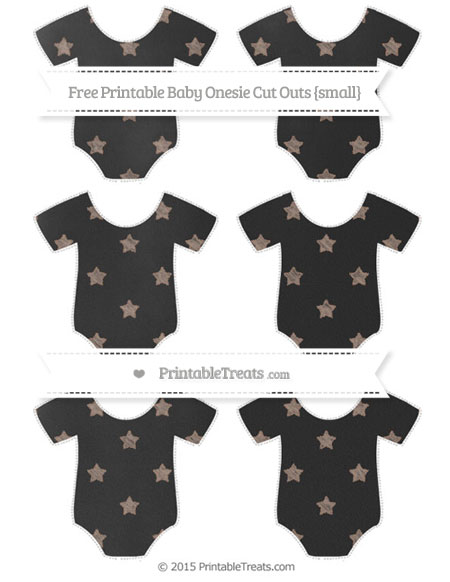 Free Beaver Brown Star Pattern Chalk Style Small Baby Onesie Cut Outs