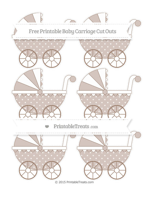 Free Beaver Brown Star Pattern Small Baby Carriage Cut Outs