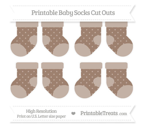 Free Beaver Brown Star Pattern Small Baby Socks Cut Outs
