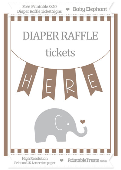 Free Beaver Brown Striped Baby Elephant 8x10 Diaper Raffle Ticket Sign