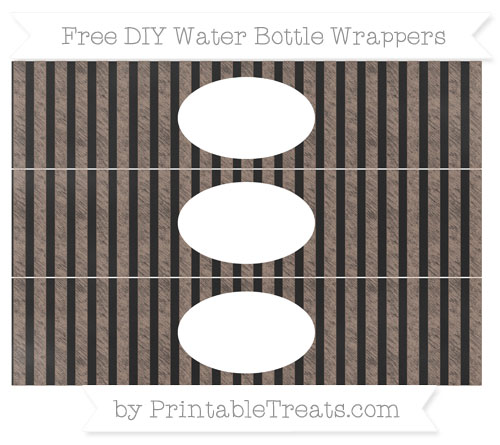 Free Beaver Brown Striped Chalk Style DIY Water Bottle Wrappers