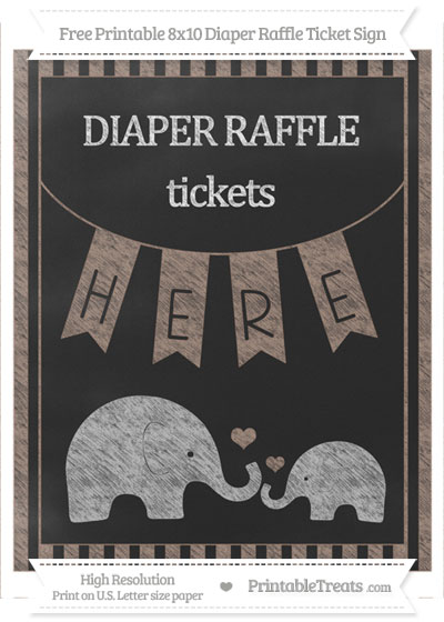 Free Beaver Brown Striped Chalk Style Elephant 8x10 Diaper Raffle Ticket Sign