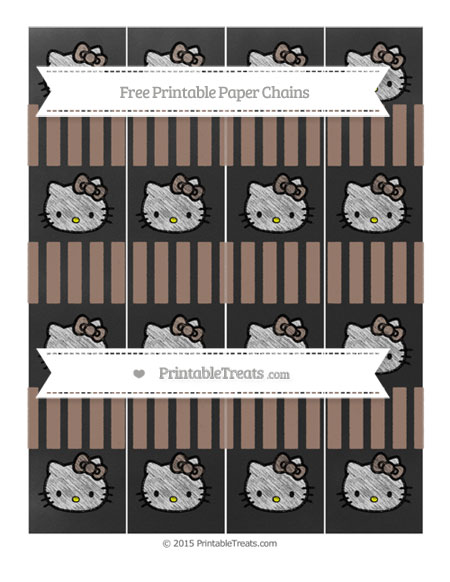 Free Beaver Brown Striped Chalk Style Hello Kitty Paper Chains