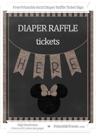 Free Beaver Brown Striped Chalk Style Minnie Mouse 8x10 Diaper Raffle Ticket Sign