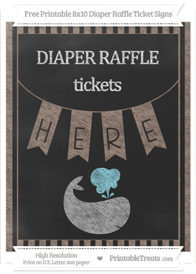 Free Beaver Brown Striped Chalk Style Whale 8x10 Diaper Raffle Ticket Sign