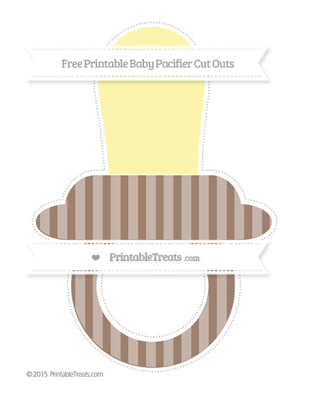 Free Beaver Brown Striped Extra Large Baby Pacifier Cut Outs