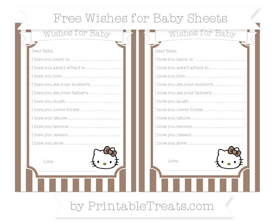 Free Beaver Brown Striped Hello Kitty Wishes for Baby Sheets