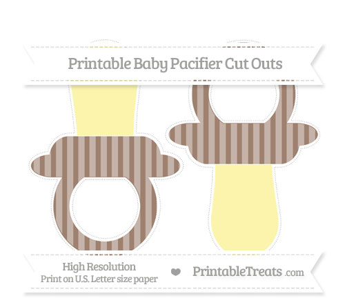 Free Beaver Brown Striped Large Baby Pacifier Cut Outs