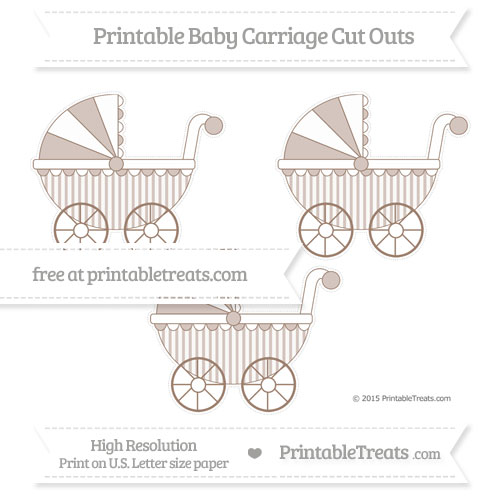 Free Beaver Brown Striped Medium Baby Carriage Cut Outs