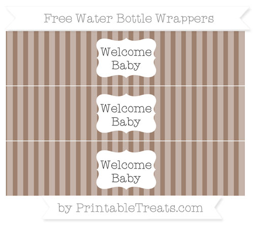 Free Beaver Brown Striped Welcome Baby Water Bottle Wrappers