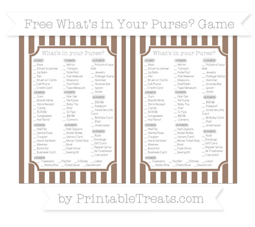 Free Beaver Brown Striped What's in Your Purse Baby Shower Game