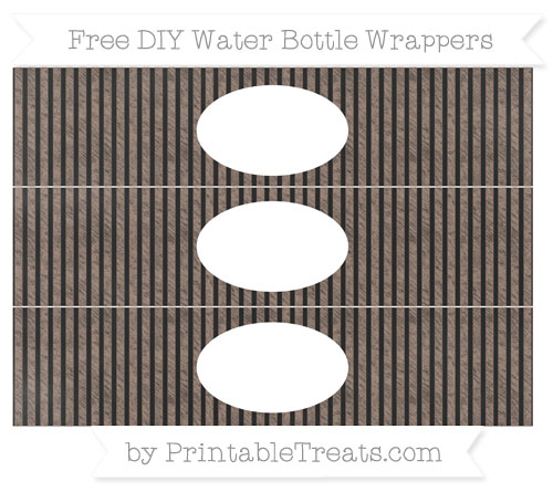 Free Beaver Brown Thin Striped Pattern Chalk Style DIY Water Bottle Wrappers