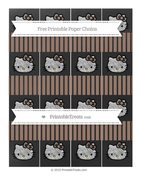 Free Beaver Brown Thin Striped Pattern Chalk Style Hello Kitty Paper Chains