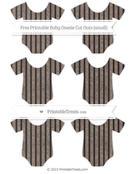Free Beaver Brown Thin Striped Pattern Chalk Style Small Baby Onesie Cut Outs