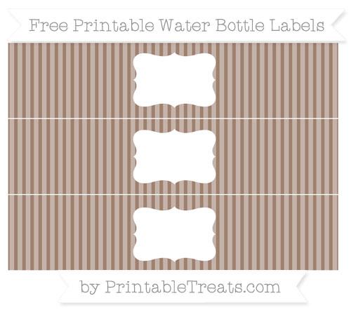 Free Beaver Brown Thin Striped Pattern Water Bottle Labels