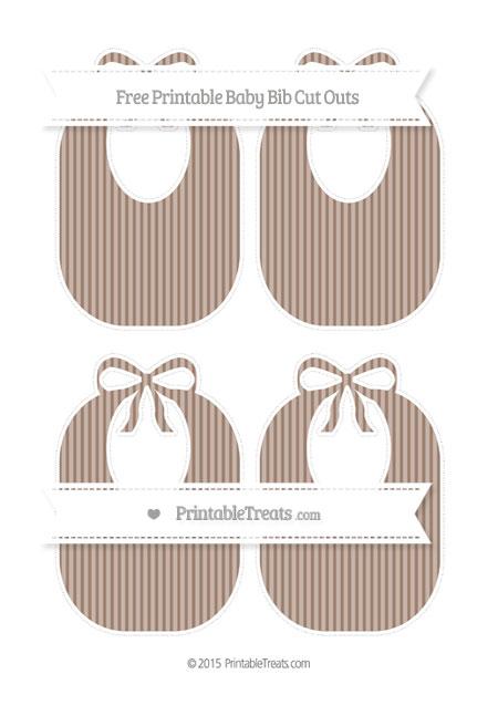 Free Beaver Brown Thin Striped Pattern Medium Baby Bib Cut Outs