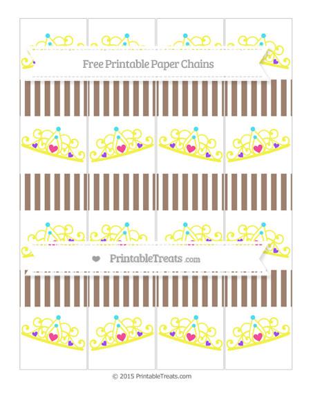 Free Beaver Brown Thin Striped Pattern Princess Tiara Paper Chains