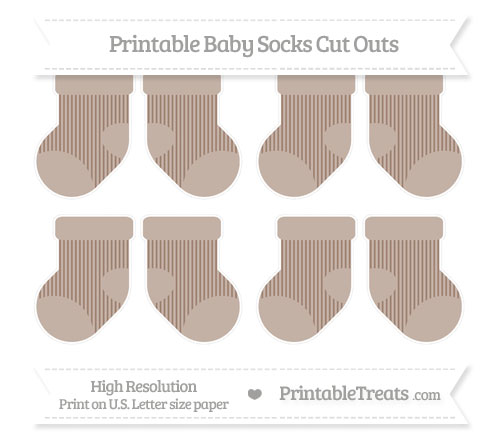 Free Beaver Brown Thin Striped Pattern Small Baby Socks Cut Outs