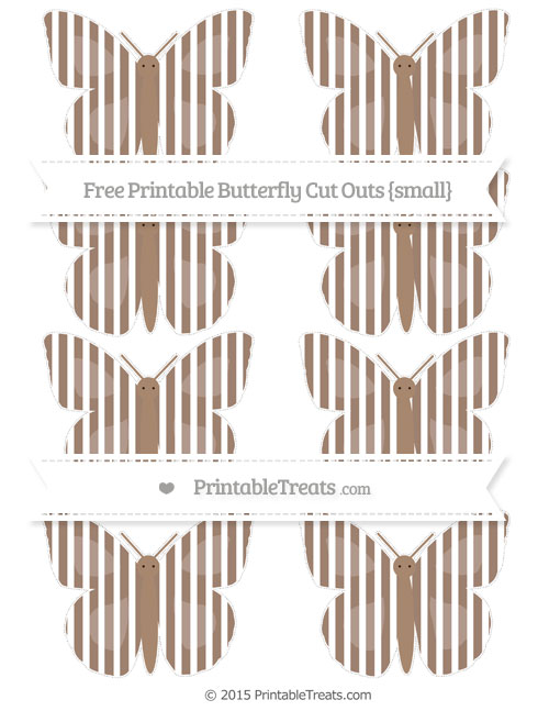 Free Beaver Brown Thin Striped Pattern Small Butterfly Cut Outs