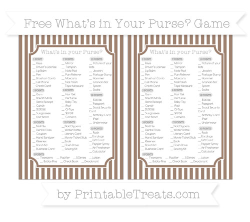 Free Beaver Brown Thin Striped Pattern What's in Your Purse Baby Shower Game