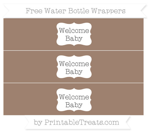 Free Beaver Brown Welcome Baby Water Bottle Wrappers