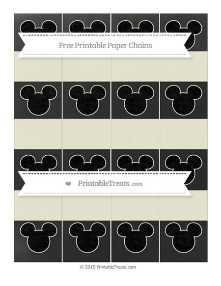Free Beige Chalk Style Mickey Mouse Paper Chains