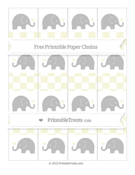 Free Beige Checker Pattern Baby Elephant Paper Chains