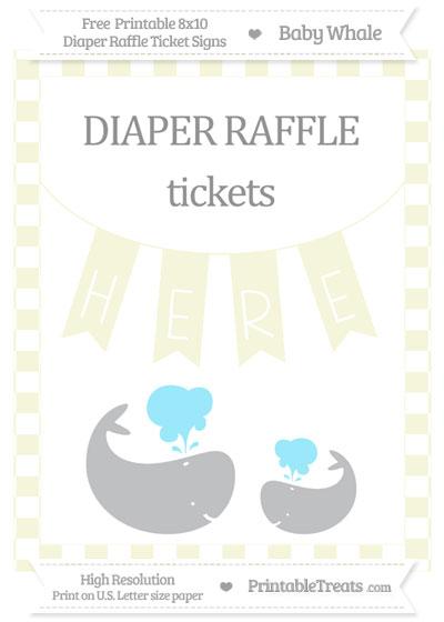 Free Beige Checker Pattern Baby Whale 8x10 Diaper Raffle Ticket Sign