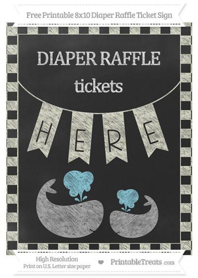 Free Beige Checker Pattern Chalk Style Baby Whale 8x10 Diaper Raffle Ticket Sign