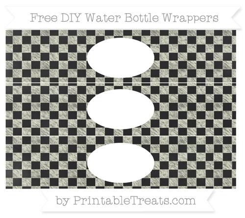 Free Beige Checker Pattern Chalk Style DIY Water Bottle Wrappers