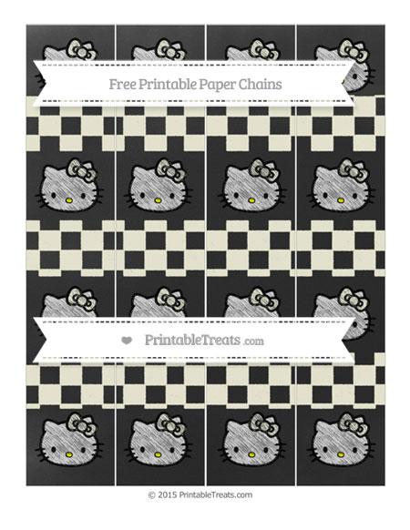 Free Beige Checker Pattern Chalk Style Hello Kitty Paper Chains