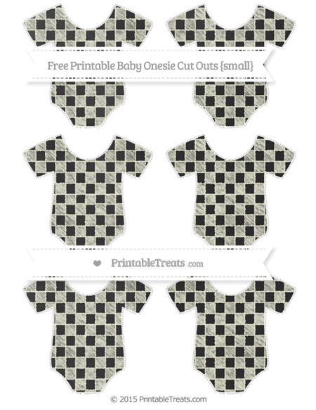 Free Beige Checker Pattern Chalk Style Small Baby Onesie Cut Outs