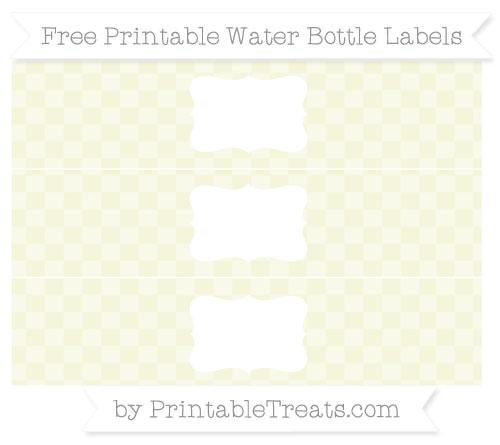 Free Beige Checker Pattern Water Bottle Labels