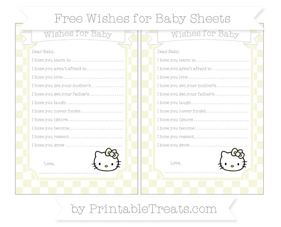 Free Beige Checker Pattern Hello Kitty Wishes for Baby Sheets